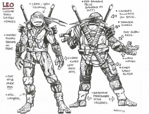 Costume body design with notes